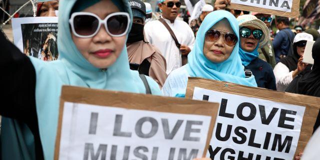 Demonstrations till stöd för uigurerna. Dita Alangkara / TT NYHETSBYRÅN
