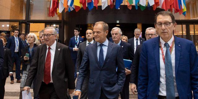 Jean-Claude Juncker och Donald Tusk. Virginia Mayo / TT NYHETSBYRÅN
