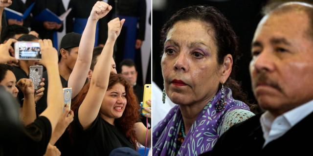 Bilder från mötet: Studenter (t v), Ortega och hans vicepresident och fru Rosario Murillo (t h). TT