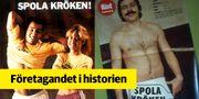 """Annons för Spola Kröken-kampanjen med Martin Dahlin och Ulrica Odervall 1989, till vänster. Till höger, Janne """"Loffe"""" Carlsson.  Centrum För Näringslivshistoria"""
