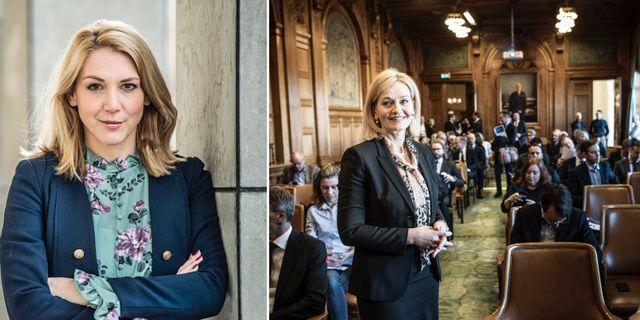 Frida Bratt, Nordnet, och Carina Åkerström, vd för Handelsbanken.  TT