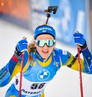 Stina Nilsson vid målgången i fredagens lopp Anders Wiklund/TT / TT NYHETSBYRÅN