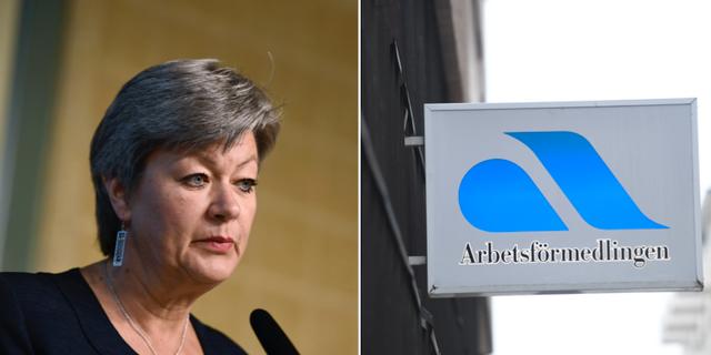 Arbetsmarknadsminister Ylva Johansson (S) samt skylt från Arbetsförmedlingen.  TT Nyhetsbyrån