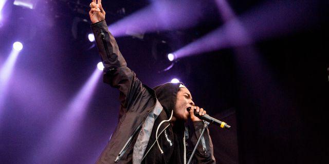 Asap Rocky under en spelning på Hultsfredsfestivalen 2013.  CHRISTINE OLSSON / TT / TT NYHETSBYRÅN