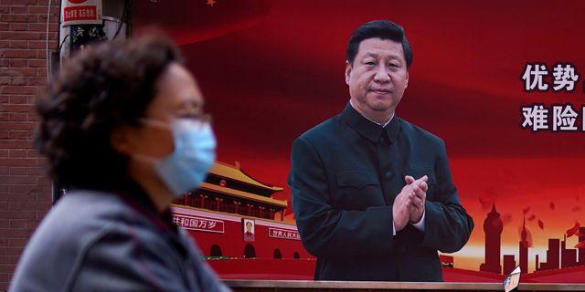 Porträtt av Kinas president Xi Jinping i Shanghai.  Aly Song / TT NYHETSBYRÅN