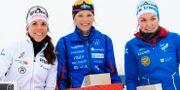 Charlotte Kalla, Piteå Elit SK, Frida Karlsson, Sollefteå Skidor IF, och Moa Lundgren, IFK Umeå. MATHIAS BERGELD / BILDBYRÅN