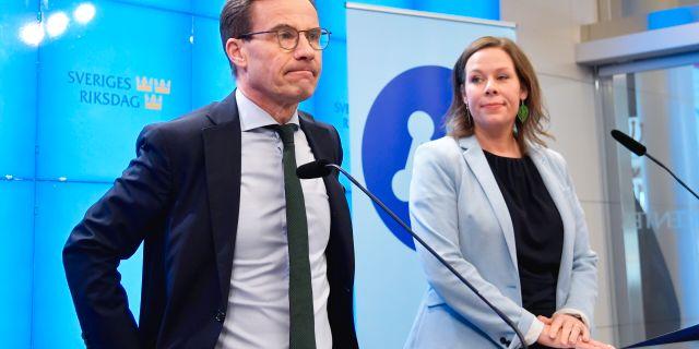 Ulf Kristersson (M) och Maria Malmer Stenergard (M). Anders Wiklund/TT / TT NYHETSBYRÅN
