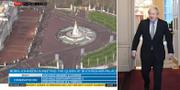 Flygbild över Buckingham Palace/Johnson lämnar Downing Street för att åka till Buckingham Palace. Sky News / TT