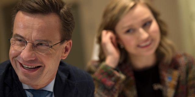 Arkivbild, Ulf Kristersson och KD-ledaren Ebba Busch Thor. Hossein Salmanzadeh/TT / TT NYHETSBYRÅN