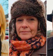 Väljarna Sophie Greenwood, Jane Ponton och Oleksandr Polishchuk. TT