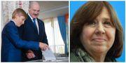 Alexander Lukasjenko och sonen Nokolai i samband med valet. Svetlana Aleksijevitj. TT