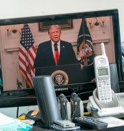 Donald Trump höll ett förinspelat anförande.  Mary Altaffer / TT NYHETSBYRÅN