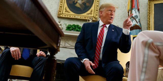 Donald Trump i det ovala rummet i Vita huset på onsdagen.  Evan Vucci / TT NYHETSBYRÅN