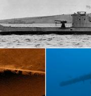 HMS Urge före sänkningen, samt sonarbilder och ett foto från fyndplatsen. Wikimedia/TT