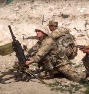 Azeriska soldater i söndags. Bilden är offentliggjord av landets försvarsdepartement. TT NYHETSBYRÅN