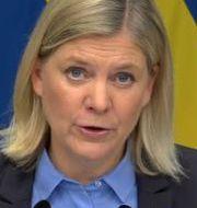 Magdalena Andersson vid dagens pressträff. Regeringskansliet / TT NYHETSBYRÅN