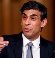 """Den brittiske finansministern Rishi Sunak presenterade idén om """"Britcoin"""" under våren. Tolga Akmen / TT NYHETSBYRÅN"""