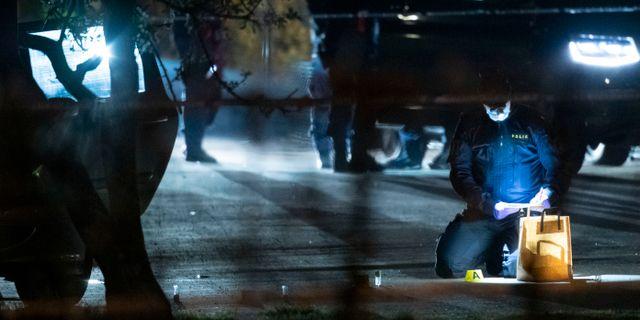 Polisens tekniker på platsen.  Johan Nilsson/TT / TT NYHETSBYRÅN