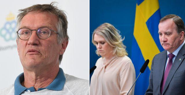 Anders Tegnell/ Socialminister Lena Hallengren och statsminister Stefan Löfven TT