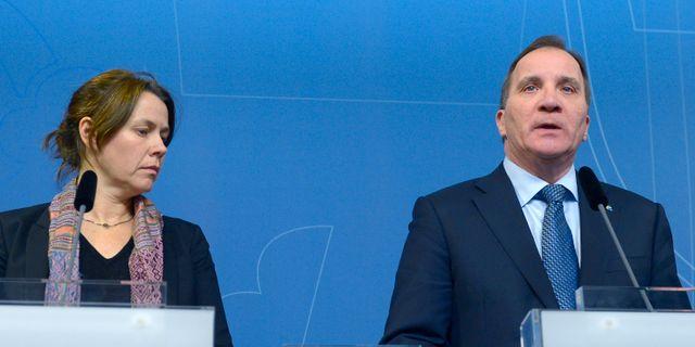 Åsa Romson och Stefan Löfven.  Janerik Henriksson/TT / TT NYHETSBYRÅN