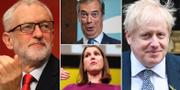Jeremy Corbyn (Labour), Nigel Farage (Brexitpartiet), Boris Johnson (Tories) coh Jo Swinson (Liberaldemokraterna). TT