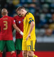 Viktor Claesson och Janne Andersson deppar efter 0–3 mot Portugal Bildbyrån / TT