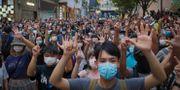 Protester mot säkerhetslagen. Vincent Yu / TT NYHETSBYRÅN