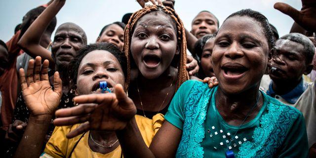 Tshisekedi-väljare firar valsegern. JOHN WESSELS / AFP