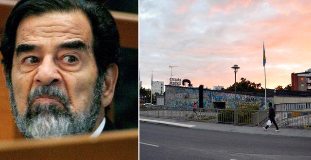 Saddam Hussein / Rågsveds centrum.  TT