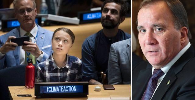 Greta Thunberg i FN-huset. Stefan Löfven, arkivbild. TT
