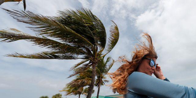 Dorians vindar känns ända bort till Florida, men har ännu inte nått delstaten i USA. Gerald Herbert / TT NYHETSBYRÅN