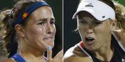 Monica Puig och Caroline Wozniacki under nattens match. TT