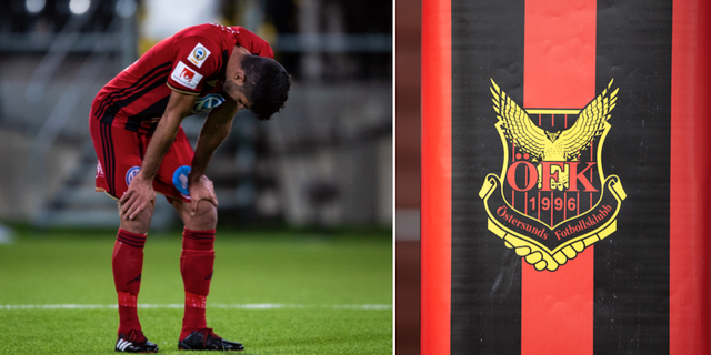 ÖFK:s Rewan Amin och klubbens emblem Bildbyrån / TT