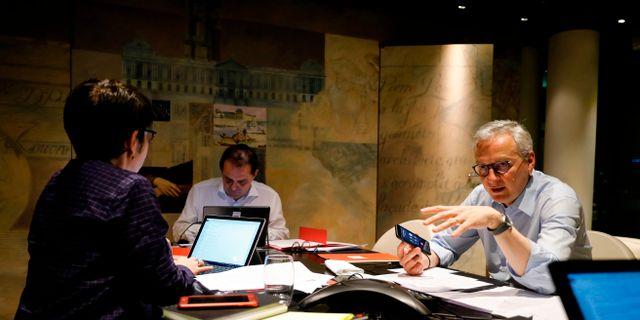 Frankrikes finansminister Bruno Le Maire tillsammans med Mario Centeno. THOMAS SAMSON / TT NYHETSBYRÅN
