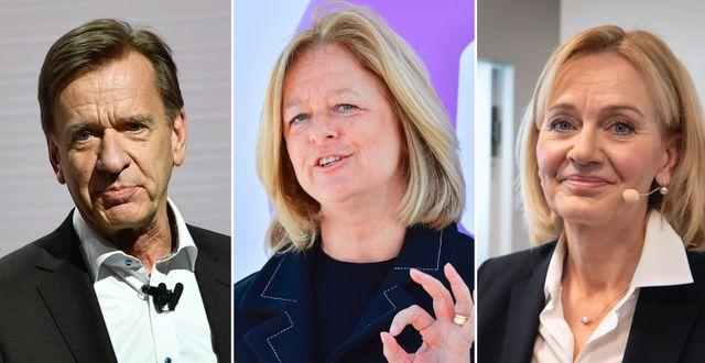 Volvo Cars Håkans Samuelsson, Telias Alisson Kirkby och Handelsbankens Carina Åkerström. Björn Larsson Rosvall/TT, Jessica Gow/TT och Jonas Ekströmer/TT