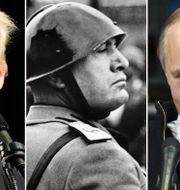 Donald Trump, Benito Mussolini och Vladimir Putin. TT