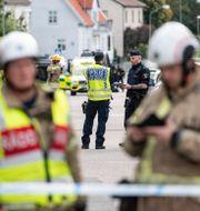 Polis och räddningspersonal på plats i Värnamo, 2 september.  Johan Nilsson/TT / TT NYHETSBYRÅN