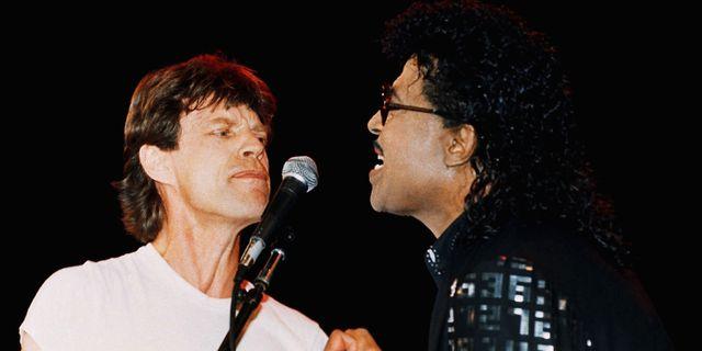 Little Richard och Mick Jagger framträder tillsammans i Cleveland 1989. Susan Ragan / TT NYHETSBYRÅN