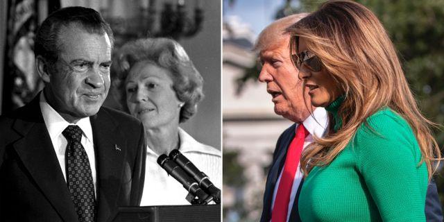 Richard Nixons avgångstal. Donald och Melania Trump. TT