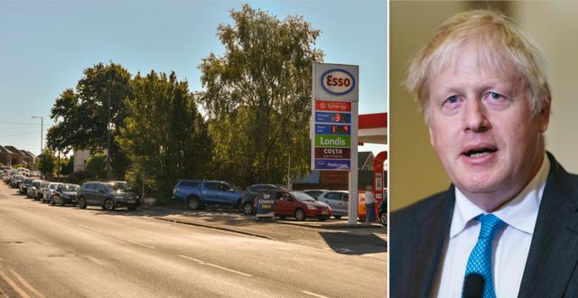 Kö till en bensinstation i Bournemouth/Boris Johnson. Shutterstock/TT