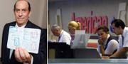 Steve Rothstein visar upp sitt pass med stämplar/personal vid American Airlines på 90-talet. Steve Rothstein/TT