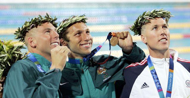 Klete Keller, som bronsmedaljör i OS i Aten 2004, längst till höger.  MARK J. TERRILL / TT NYHETSBYRÅN