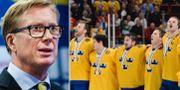 Boustedt (t v), Sverige sjunger nationalsången under VM 2013 (t h). TT