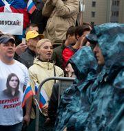 Protester i Moskva den 10 augusti 2019.  Alexander Zemlianichenko / TT NYHETSBYRÅN