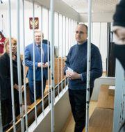 Paul Whelan under rättegången. Pavel Golovkin / TT NYHETSBYRÅN