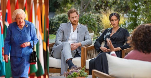 Brittiska drottningen Elizabeth II och prins Harry och Meghan Markle i intervjun med Oprah. TT