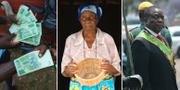 Zimbabwes nya tvådollarssedlar / kvinna i Mudzi / president Emmerson Mnangagwa TT