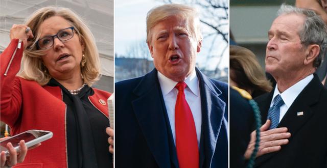 Liz Cheney, Donald Trump och George W. Bush. s