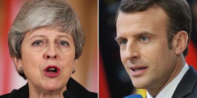 Theresa May och Emmanuel Macron.  TT