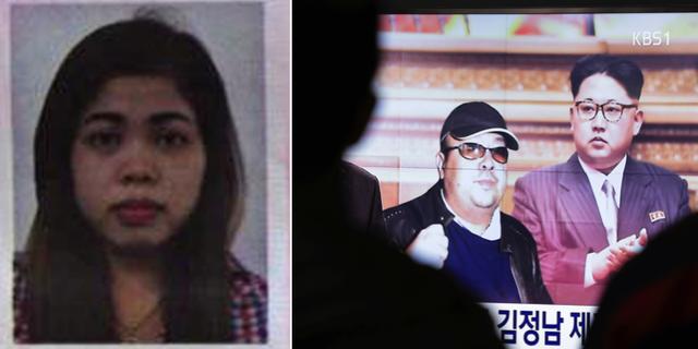 Den gripna misstänkta Siti Aisyah, 25/Nordkoreas diktator Kim Jong-Un tillsammans med Kim Jong-Nam på tv-nyheter. TT